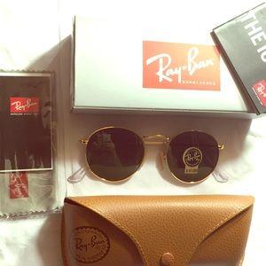 Ray Ban Round Metal Gold 3447 Sunglasses aviator